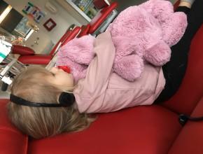 Det er nu meget rart at have en bamse at putte med, når man skal sidde stille.